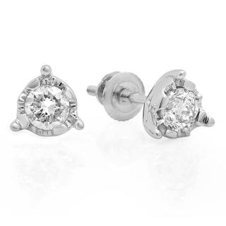 10K White Gold 5/8 ct. TDW Round Cut Diamond Solitaire Bezel Set Stud Earrings (J-K, I1-I2)