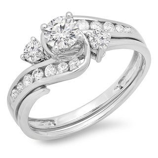 Elora 10K White Gold 7/8ct TDW Round Diamond Ladies Swirl Bridal Engagement Ring Matching Band Set (J-K, I