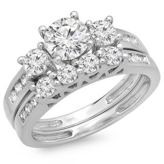 Elora 14K White Gold 1 7/8ct. TDW Round Diamond Bridal 3 Stone Engagement Ring Set (J-K, I1-I2)