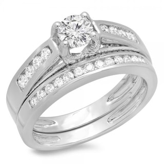 14K White Gold 1ct. TDW Round Diamond Vintage Style Bridal Engagement Ring Set (J-K, I1-I2)