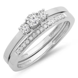 14K White Gold 1/3ct. TDW Round Cut Diamond Bridal Engagement 3 Stone Ring Set(J-K, I1-I2)
