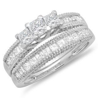 14K White Gold 2 1/3ct. TDW Princess & Round Diamond Bridal 3 Stone Engagement Ring Wedding Band Set (J-K, I1-I2)