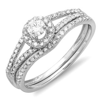 14K White Gold 1/2ct. TDW Round Diamond Bridal Halo Style Engagement Ring Set(J-K, I1-I2)