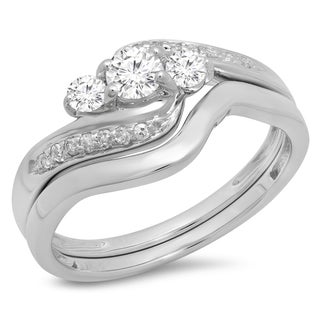 14K White Gold 1/2ct. TDW Round Diamond Swirl 3 Stone Bridal Engagement Ring Set(J-K, I1-I2)