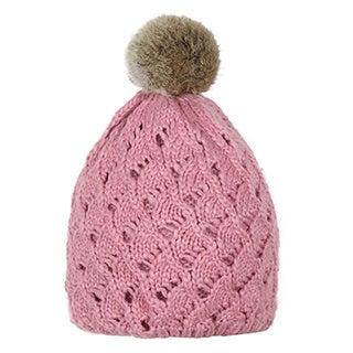 Dasein Pointelle Knit Beanie with Fur Pom Pom and Pleated Lining