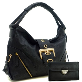 Dasein Zipped Jacket Effect Hobo Bag with Buckle Wallet Set