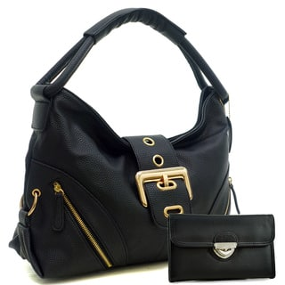 Dasein Zipped Jacket Effect Hobo Bag with Buckle Wallet Set|https://ak1.ostkcdn.com/images/products/10702565/P17763118.jpg?impolicy=medium