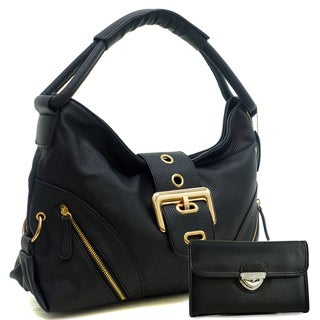Dasein Zipped Jacket Effect Hobo Bag with Buckle Wallet Set