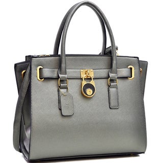 Dasein Saffiano Faux Leather Belted Medium Tote Bag