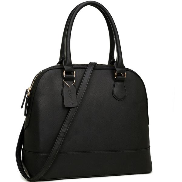 Dasein Saffiano Faux Leather Dome Zip-Around Handbag