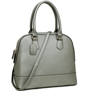 Dasein Saffiano Faux Leather Dome Zip-Around Handbag