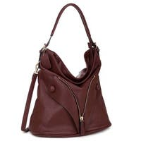 Dasein Zipped Jacket Effect Faux Leather Hobo Handbag