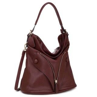 Dasein Zipped Jacket Effect Hobo Handbag
