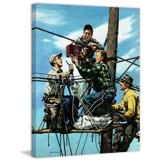Marmont Hill - Linemen Listen to World Series by Stevan Dohanos Painting Print on Canvas