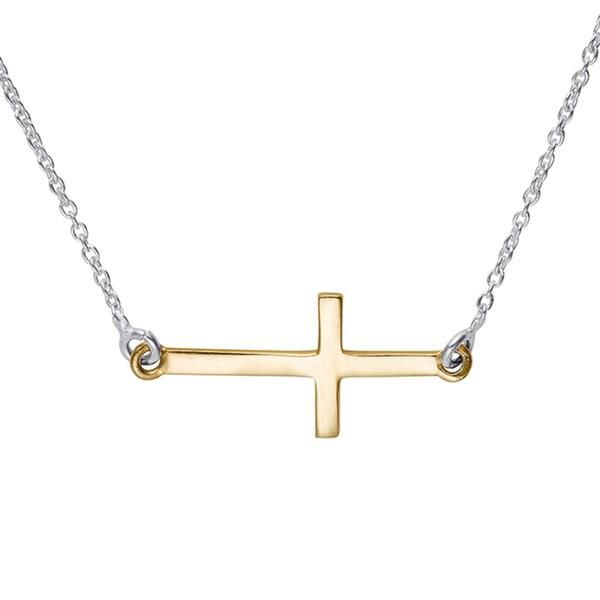 Sterling silver two tone mini sideways cross pendant free shipping sterling silver two tone mini sideways cross pendant aloadofball Gallery