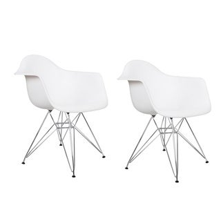 Adeco Plastic Armchair with Chrome Legs (Set of 2)