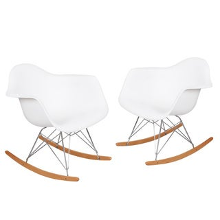 Adeco Plastic Armchair with Rocking Legs (Set of 2)