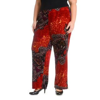 Sunny Leigh Women's Plus Size Velveteen Paisley Printed Pant