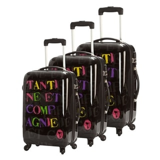Tantine&Co Black Logo 3-piece Hardside Spinner Luggage Set