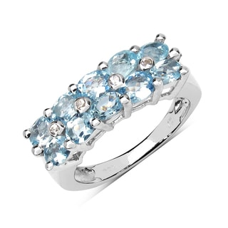 Olivia Leone Sterling Silver 1 3/5ct Aquamarine and White Sapphire Ring