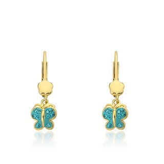 Molly Glitz 14k Goldplated Enamel Butterfly Earring Accented with Crystals
