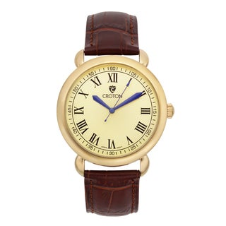 Croton Men's CN307532BRCH Stainless Steel Goldtone Leather Strap Watch