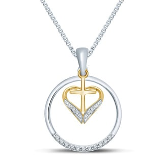 Unending Love 10k Yellow Gold and Sterling Silver 1/10ct Diamond Circle of Love Heart Pendant (HI/I 1-2)