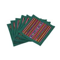 Handmade Set of 6 Cotton 'Lahu Jade' Coasters (Thailand)