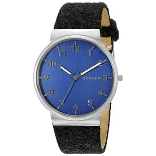 Skagen Men's SKW6232 'Ancher Felt' Black Leather Watch