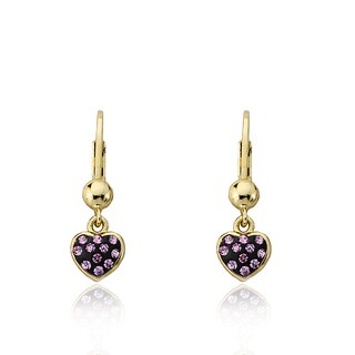 Molly Glitz Heart of Jewels 14k Goldplated With Enamel and Crystals Heart Earring