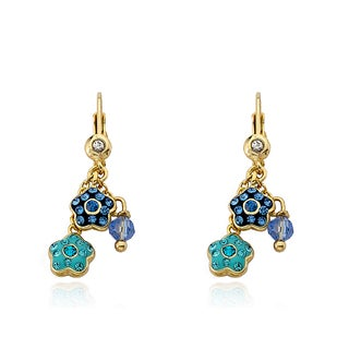 Molly Glitz 14k Goldplated Crystal Flower Earrings
