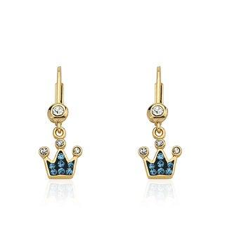 Molly Glitz 'Pretty Princess' 14k Goldplated Crystal Crown Earring