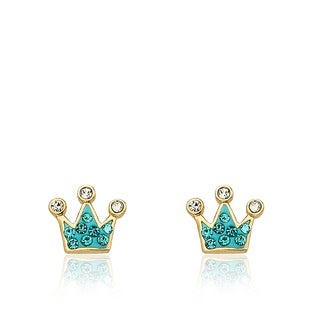 Molly Glitz 'Pretty Princess' 14k Goldplated Crystal Crown Stud Earring