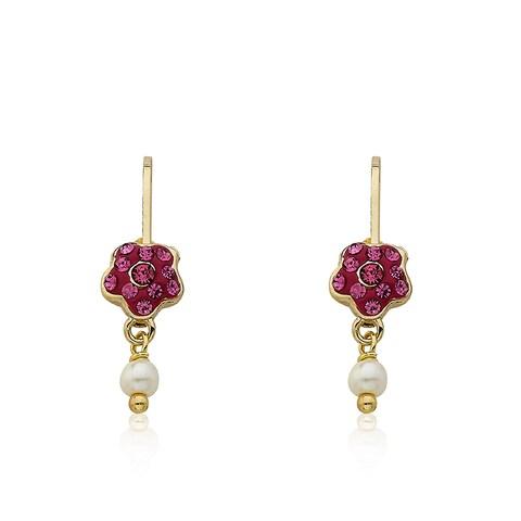 Molly Glitz 'Flowery Glitz' 14k Goldplated Crystal Flower and Fresh Water Pearl Dangle Leverback Earring