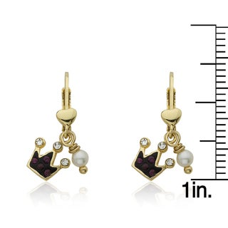Molly Glitz 'Pretty Princess' 14k Goldplated Crystal Crown and Fresh Water Pearl Dangle Leverback Earring