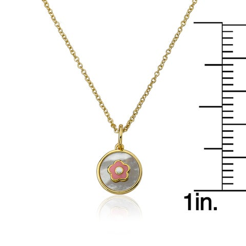 LMTS 14K Gold Plated Mother Of Pearl Coin Accented With Enamel Flower Pendant Chain Necklace