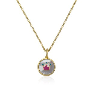 Little Miss Twin Stars Mother Of Pearl Necklace with Pink Crown