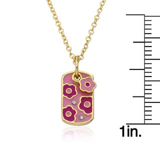 Identity Crisis 14k Goldplated Pink Enamel Flower Dog Tag Necklace with Scattered Crystals