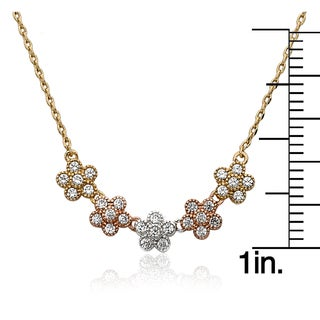 Little Miss Flower 3-tone Plated Cubic Zirconia Small Flowers Chain Necklace