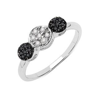 Olivia Leone Sterling Silver 1/6ct TDW White and Black Diamond Ring (I-J, I2-I3)