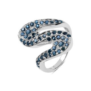 Malaika Sterling Silver 3/4ct TDW Blue Diamond Ring