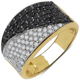 Malaika Yellow Goldplated Sterling Silver 1 1/5Ct Tdw Black And White Diamond Ring (3 options available)