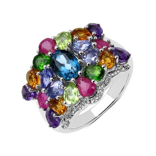 Olivia Leone Sterling Silver 4 1/10ct Multi Stone Ring