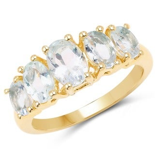 Olivia Leone 14k Yellow Goldplated Sterling Silver 2 1/5ct Aquamarine Ring