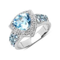 Olivia Leone Sterling Silver 2 4/5ct Blue Topaz Aquamarine and White Topaz Ring