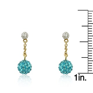 Molly Glitz 'Glitz Blitz' 14k Goldplated White Tiny Crystal Ball Top with Aqua Crystals Ball Earring