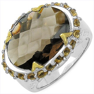 Olivia Leone Two-tone Sterling Silver 9 5/8ct Smoky Quartz and Citrine Ring
