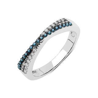Olivia Leone Sterling Silver 1/5ct TDW Blue and White Diamond Ring