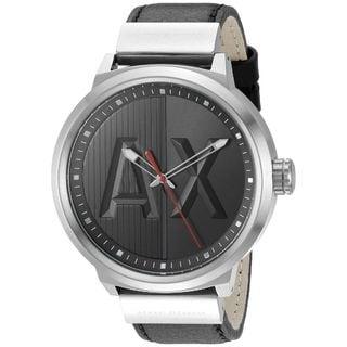 Armani Exchange Men's AX1361 'ATLC' AX Logo Black Leather Watch