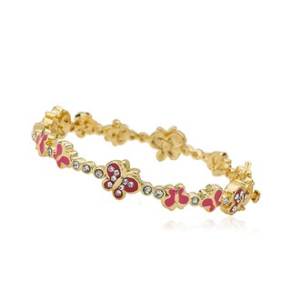 Molly Glitz 14k Goldplated Hot Pink Crystal Butterfly Cut-out Bangle